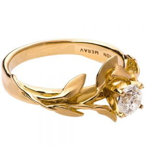 Leaves Engagement Ring #4 Yellow Gold and Diamond