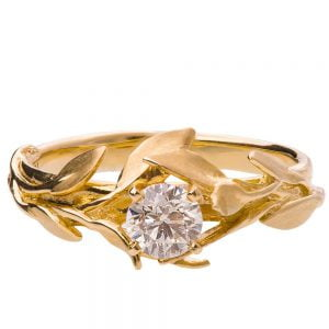 Leaves Engagement Ring #4 Yellow Gold and Moissanite