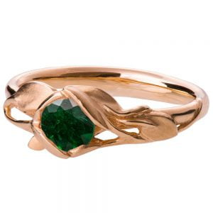 Leaves Engagement Ring #6 Rose Gold and Emerald