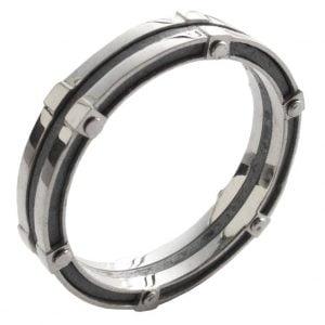 טבעת נישואין בעיצוב מודרני עשויה בעבודת יד, מורכבת משילוב של כסף וזהב לבן BNG #8