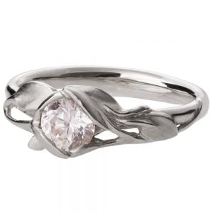Leaves Engagement Ring #6 Platinum and Moissanite