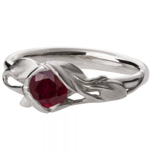 Leaves Engagement Ring #6 Platinum and Ruby