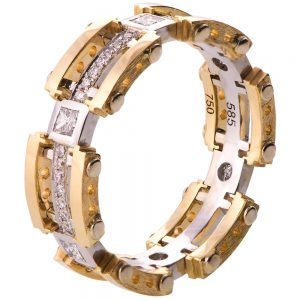 Men's Wedding Band Yellow Gold and Diamonds BNG7