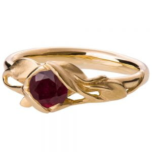 Leaves Engagement Ring #6 Yellow Gold and Ruby