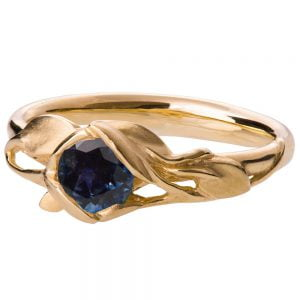 Leaves Engagement Ring #6 Yellow Gold and Sapphire Catalogue