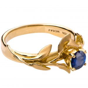 Leaves Engagement Ring #4 Yellow Gold and Sapphire