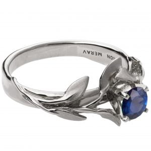 Leaves Engagement Ring #4 White Gold and Sapphire