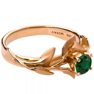 Leaves Engagement Ring #4 Rose Gold and Emerald