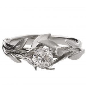 Leaves Engagement Ring #4 White Gold and Diamond