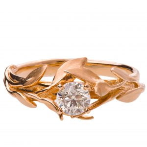 Leaves Engagement Ring #4 Rose Gold and Diamond