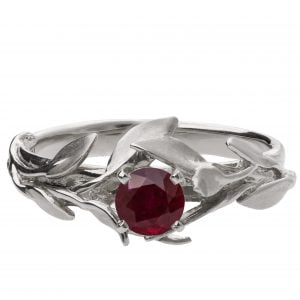 Leaves Engagement Ring #4 White Gold and Ruby