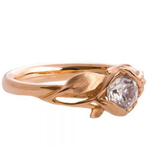 Leaves Engagement Ring #6 Rose Gold and Moissanite