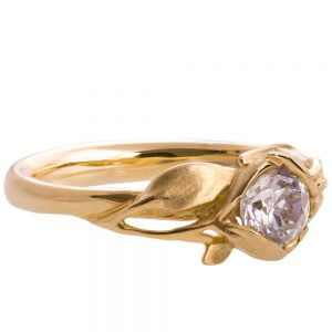 Leaves Engagement Ring #6 Yellow Gold and Moissanite