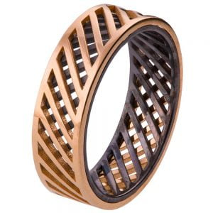 Men's Wedding Band Rose Gold Grid 3