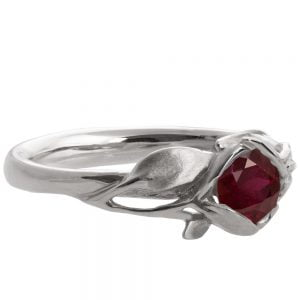 Leaves Engagement Ring #6 Platinum and Ruby Catalogue