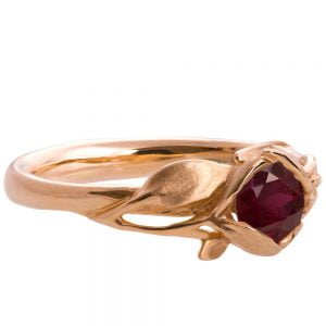 Leaves Engagement Ring #6 Rose Gold and Ruby