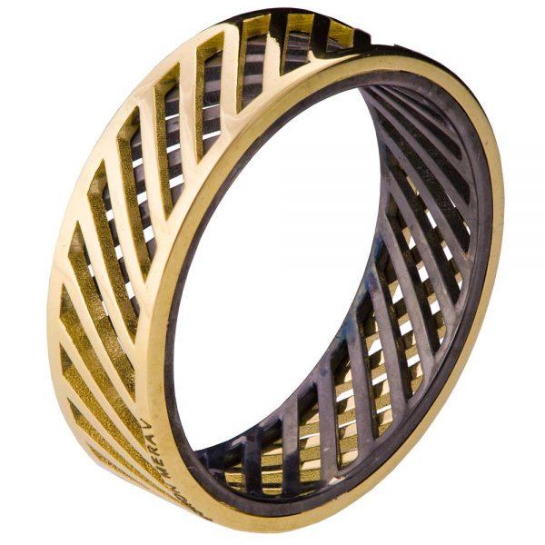 Men's Wedding Band Yellow Gold Grid 3