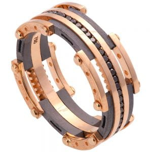 Men's Wedding Band Rose Gold and Black Diamonds BNG3D