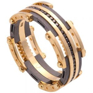 Men's Wedding Band Yellow Gold and Black Diamonds