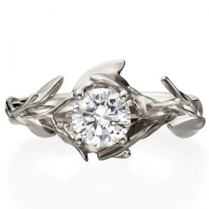 White Gold Leaves Diamond Engagement Ring