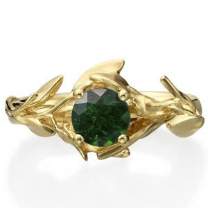 Leaves Engagement Ring #4 Yellow Gold and Emerald Catalogue