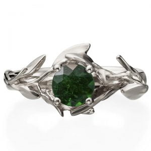 Leaves Engagement Ring #4 White Gold and Emerald