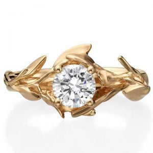 Leaves Engagement Ring #4 Rose Gold and Moissanite