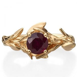 Leaves Engagement Ring #4 Rose Gold and Ruby
