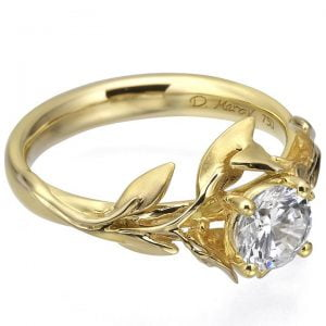 Leaves Engagement Ring Yellow Gold and Diamond