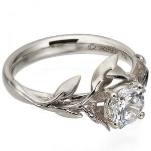 Leaves Engagement Ring #4 White Gold and Moissanite