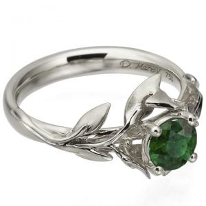 Leaves Engagement Ring #4 Platinum and Emerald