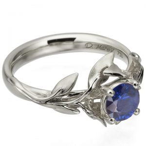 Leaves Engagement Ring #4 Platinum and Sapphire