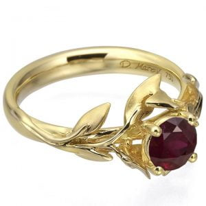 Leaves Engagement Ring #4 Yellow Gold and Ruby