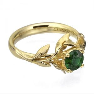 Leaves Engagement Ring #4 Yellow Gold and Emerald