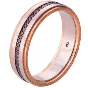 Men's Wedding Band Rose Gold and Black Diamonds