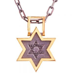 Men's Pendant Rose Gold and Black Diamonds Star of David