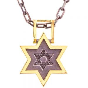 Men's Pendant Yellow Gold and Black Diamonds Star of David