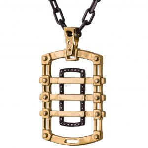 Men's Dog Tag Pendant Black Diamonds Yellow Gold 2