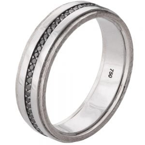 Men's Wedding Band Platinum and Black Diamonds BNG18