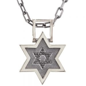 Men's Pendant White Gold and Black Diamonds Star of David
