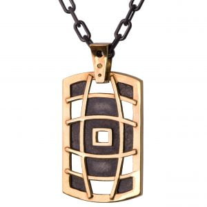 Men's Dog Tag Pendant Rose Gold 1