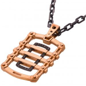 Men's Dog Tag Pendant Black Diamonds Rose Gold 2