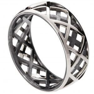 Men's Wedding Band Platinum Grid 5