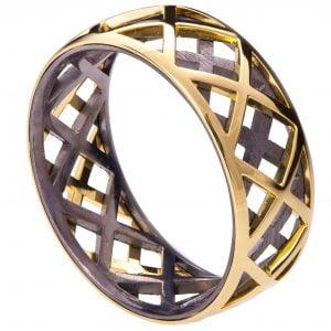 Men's Wedding Band Rose Gold Grid 5