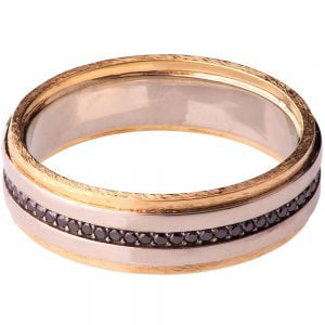 Men's Wedding Band Yellow Gold and Black Diamonds BNG18