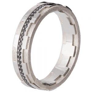 Men's Wedding Band Platinum and Black Diamonds BNG18B