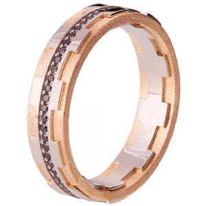 Men's Wedding Band Rose Gold and Black Diamonds BNG18B