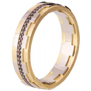 Men's Wedding Band Yellow Gold and Black Diamonds BNG18B