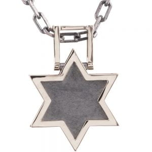 Men's Pendant White Gold Star of David