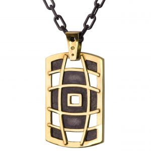 Men's Dog Tag Pendant Yellow Gold 1
